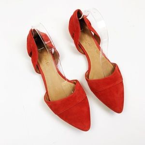 Madewell Red D'orsay Flat Nubuck Leather Pointed